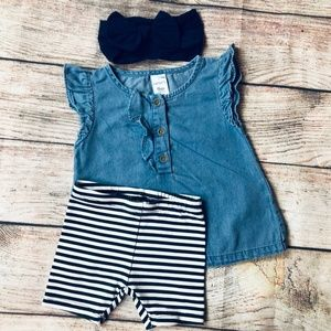 Baby Girl 6-9m denim SS top + stripe bike short &